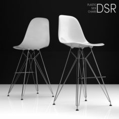 Eames DSR Bar plastic side chairs 3D Model