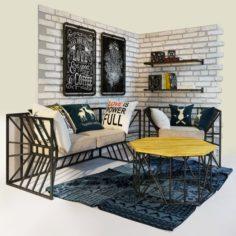Sofa and armchair Loft 3D Model
