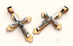 Golden cross with Jesus 3D Model