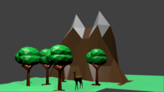 LOW POLY TREES AND DEER MOUNTAIN Free 3D Model