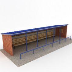 Baseball stadium dugout bench 3D Model