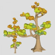 Low poly Ash tree pack Autumn for cartoon 3D Model