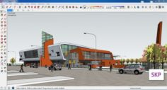 Sketchup bus terminal C2 3D Model