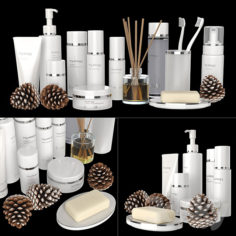 A set of white cosmetics.                                      3D Model