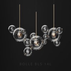 Chandelier Giopato Coombes BOLLE 14 bubbles Clear-GOLD 3D Model