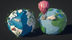 Low-Poly-Earth Pack 3D Model
