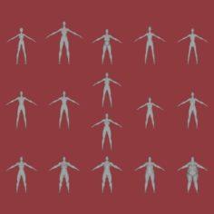 16 female characters UV same mesh 3D Model