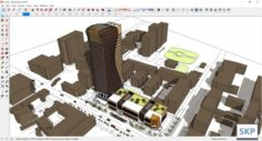 Sketchup Commercial and office complex L5 3D Model