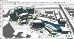 Sketchup Commercial and office complex M9 3D Model