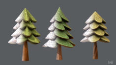 Trees Cartoon V02 3D Model