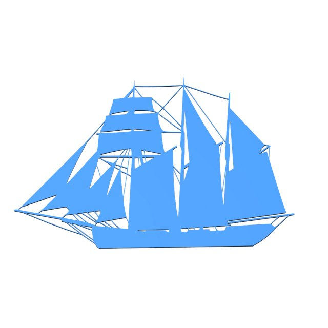 Sailing boat for wall decoration1 3D Model