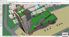 Sketchup Commercial and office complex F6 3D Model