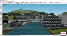 Sketchup Recreational hotel complex B10 3D Model