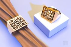 Gold ring with a pattern 3D Model