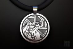 Talisman Kolovrat pendant with wolf 3D Model