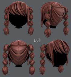 3D Hair style for girl V37 3D Model
