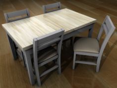 One table and four chairs 3D Model