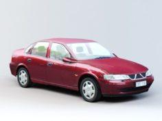 Red Sedan Car 3D Model