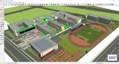 Sketchup College building C4 3D Model