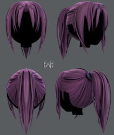 3D Hair style for girl V36 3D Model