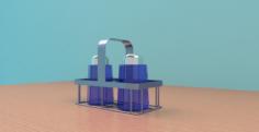 Salt Pepper Shakers w- Holder 3D Model