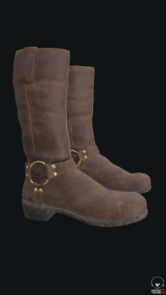 Knee-high brown leather boots 3D Model