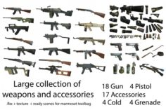 Large collection of weapons and accessories – 47 model with texture and ready scene for marmoset 3D Model