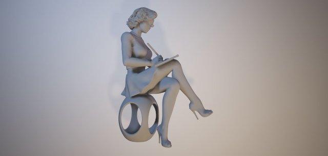 Statuette – Woman artist 3d print model 3D Model