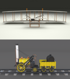 Rocket Locomotive and Wright Flyer Pack 3D Model