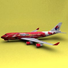 Boeing 747 Malaysia Airline 3D Model