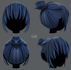 3D Hair style for girl V35 3D Model