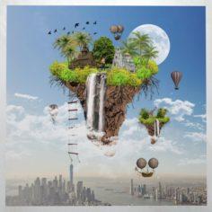 Canvas Art Surreal Floating Island 3D Model
