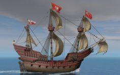Galeon Dragon Smok with sails 3D Model