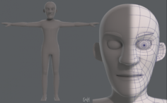Base mesh old man character V03 3D Model