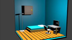 Low poly bedroom Free 3D Model