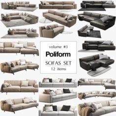Poliform 12 sofas set 3D Model