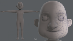 Base mesh old man character V04 3D Model