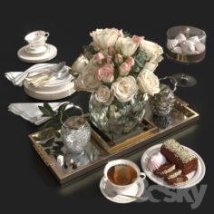 Roses and tea.                                      3D Model