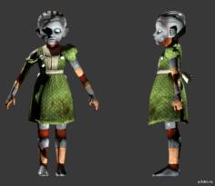 Gatherer Girl Robot 3D Model