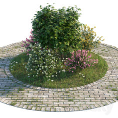 Flowerbed with bushes and grass                                      3D Model