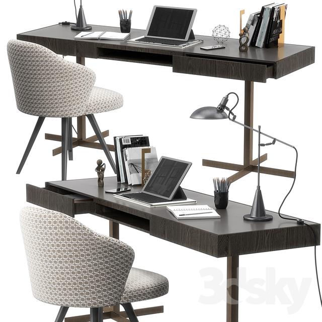 Minotti Close writing desk set                                      3D Model
