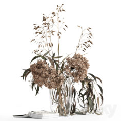Dry bouquet and book                                      3D Model