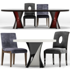 Miramont, Cavallini Chair, Ned Table                                      3D Model
