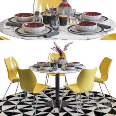 Dining Set with Decoration and City Chair                                      3D Model