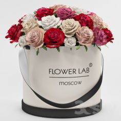 A bouquet of roses in a gift box                                      3D Model