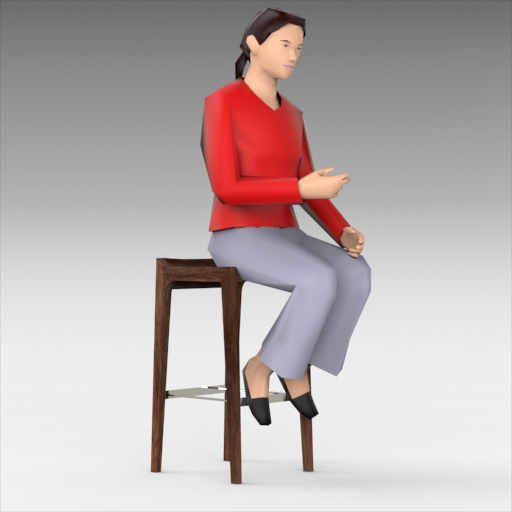 Women Sitting on Stool Set 3D Model