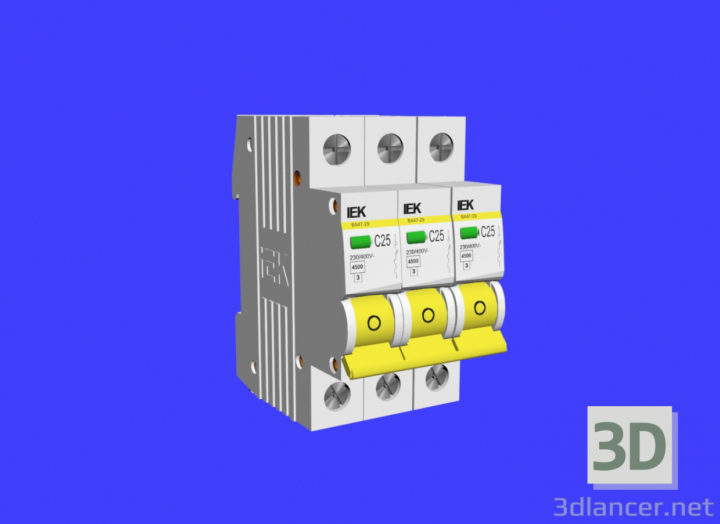 3D-Model  3-phase circuit breaker