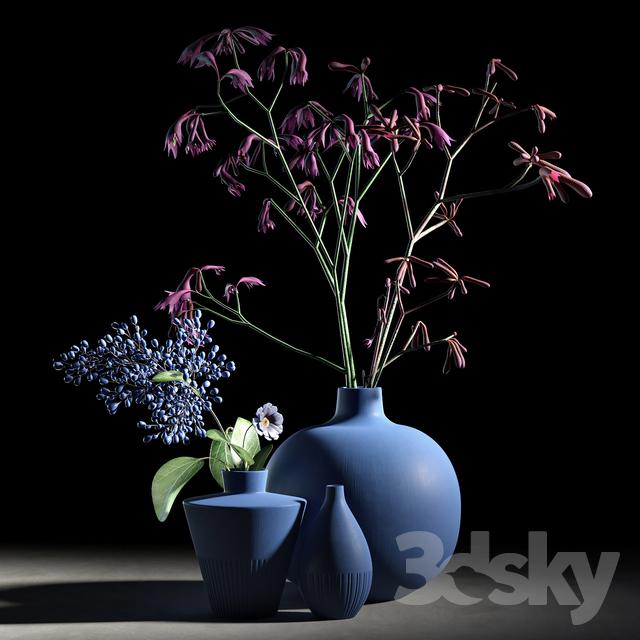 Blue vases set                                      3D Model