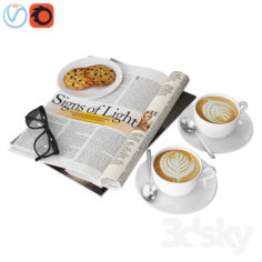 Coffee and magazine                                      3D Model