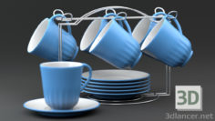 3D-Model  Tea set on a stand